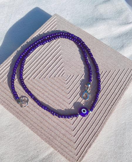Dark Blue Lucky Evil Eye Necklace With Dark Blue Glass Evil Eye