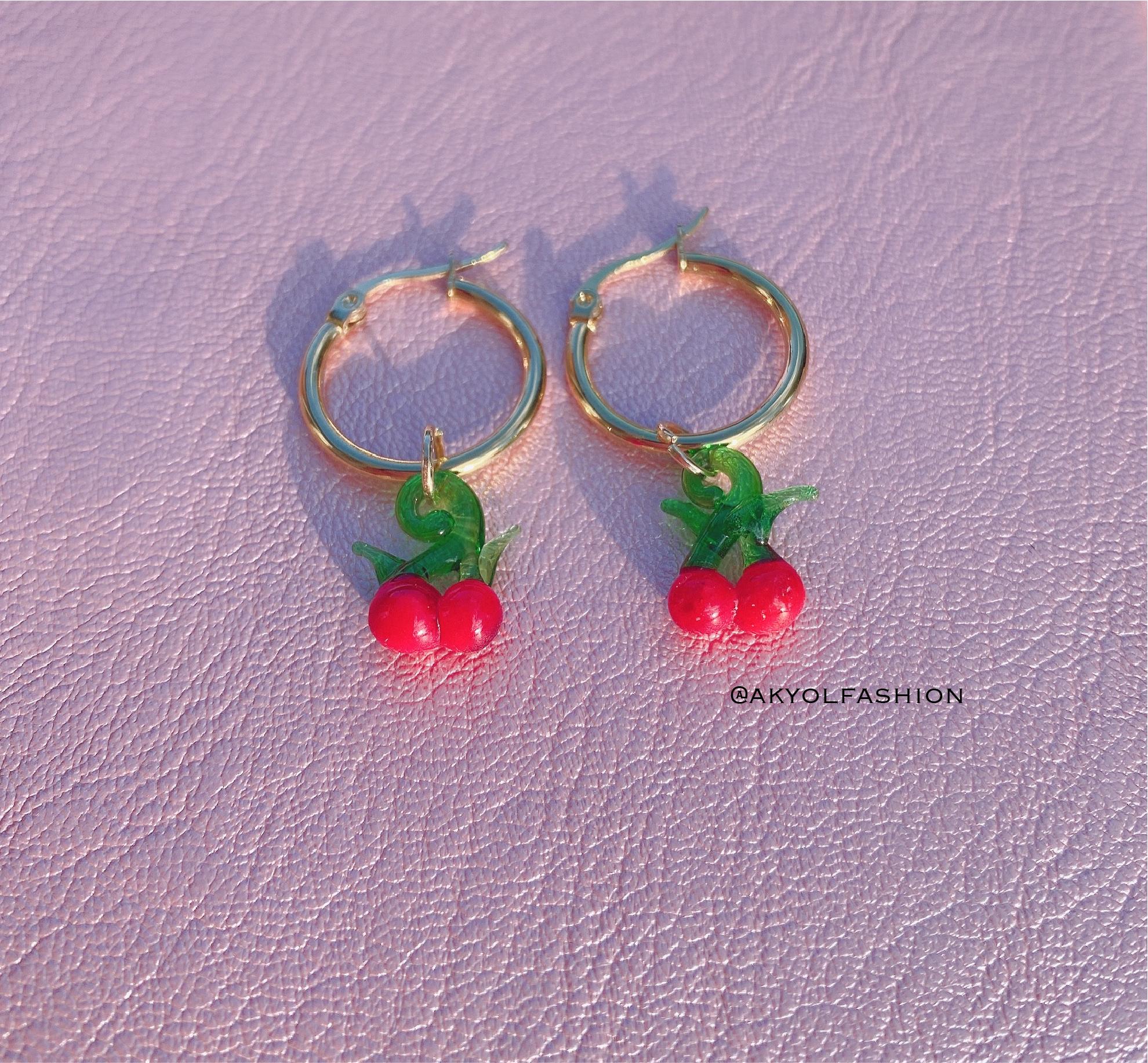 Gold Cherry Earrings