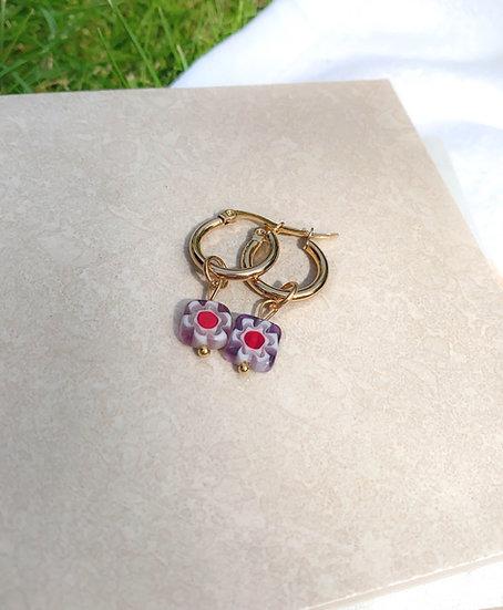 Purple Millefiori Murano Small Hoop Earrings