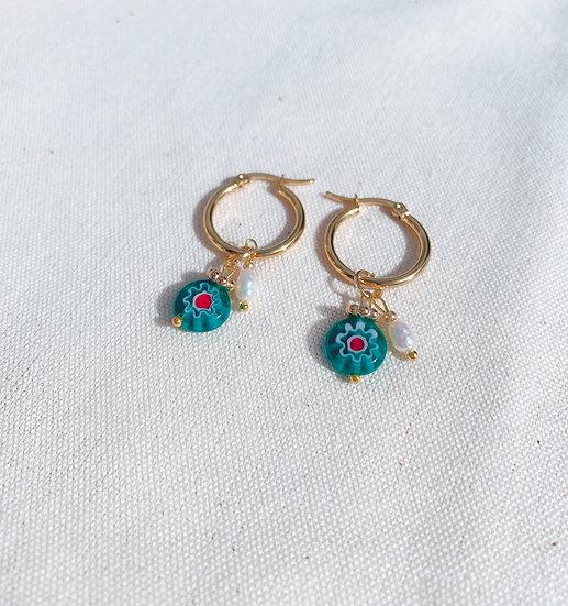 Green Millefiori Glass Hoop Earrings, Gold Plated Stainless Steel