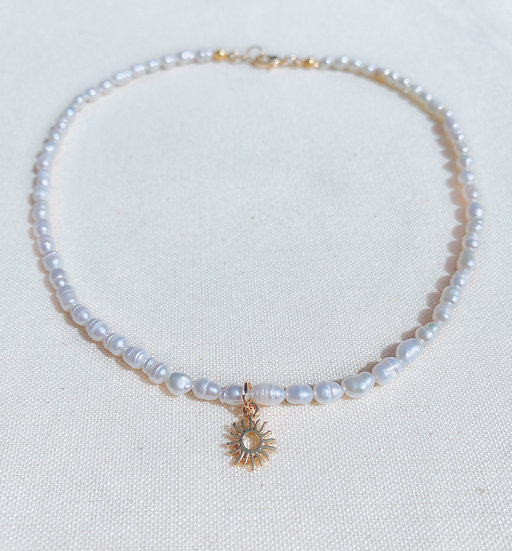 Sun Necklace With Freshwater Pearls