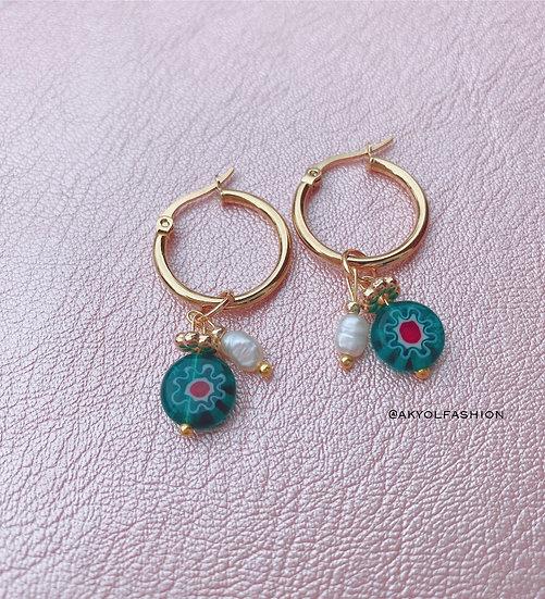 Green Murano Millefiori Glass Hoop Earrings, Gold Plated Stainless Steel