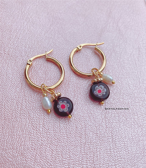 Purple Murano Millefiori Glass Hoop Earrings, Gold Plated Stainless Steel