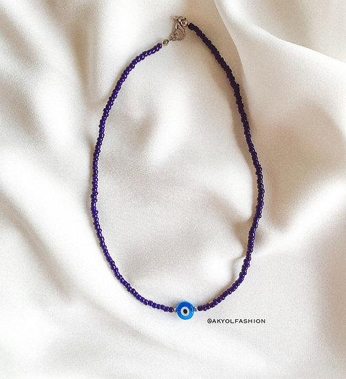 Dark Blue Lucky Evil Eye Necklace With Light Blue Evil Eye Bead - 3 mm