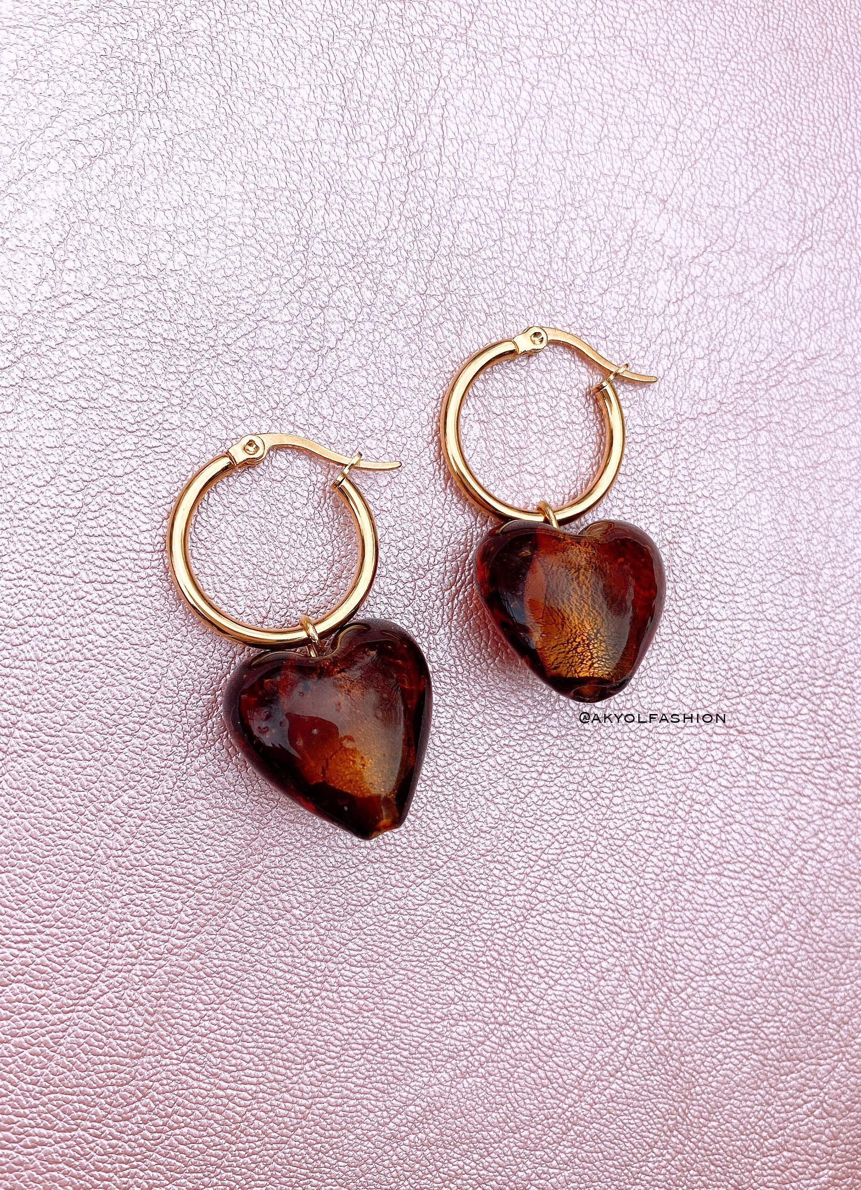 Gold Brown Heart Hoop Earrings