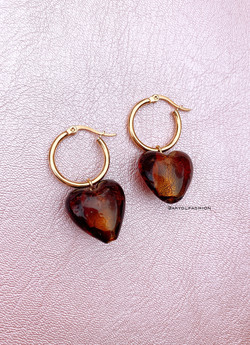 Gold Brown Heart Hoop Earrings