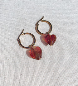 Light Brown Murano Glass Heart Earring, Gold Plated Stainless Steel Hoops