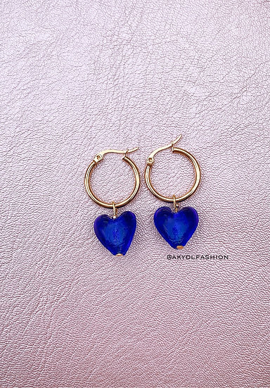 Cobalt Blue Lampwork Glass Heart Gold Hoop Earrings