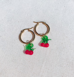 Cherry Murano Glass Gold Hoop Earrings