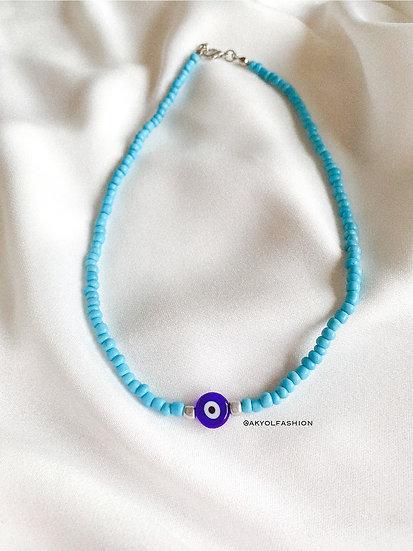 Light Blue Lucky Evil Eye Necklace With Dark Blue, Glass Evil Eye Bead