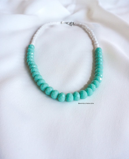 Mint and White Faceted Glass Beaded Necklace