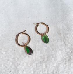 Green Glass Teardrop Gold Hoop Earrings