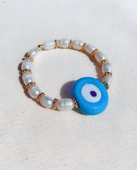 Blue Evil Eye Bracelet With Fresh Water Pearls