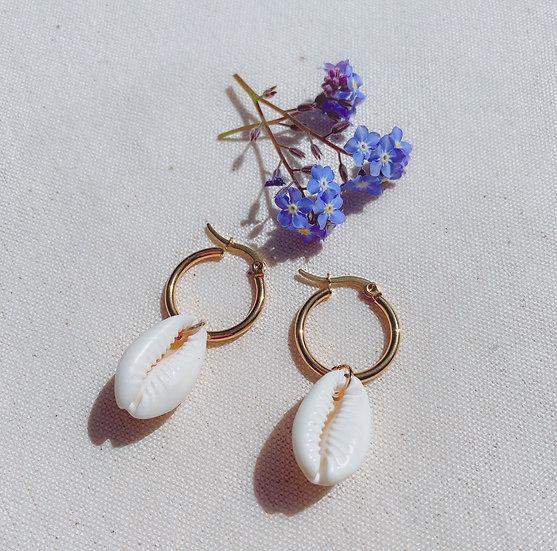 Cowrie Shell Gold Hoop Earrings