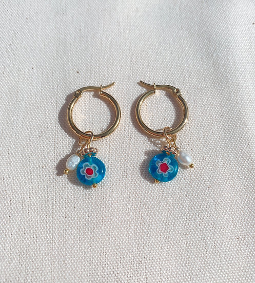 Light Blue Millefiori Glass Hoop Earrings, Gold Plated Stainless Steel