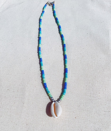 Ocean Shades Beaded Cowrie Shell Necklace