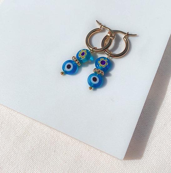 Light Blue Millefiori Glass Hoop Earrings, Gold Plated Stainless Steel