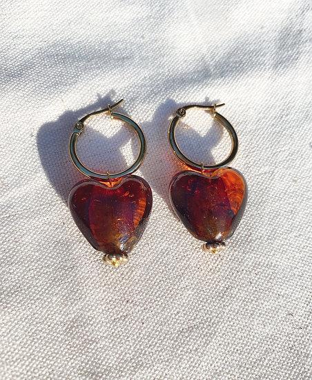 Brown Lampwork Glass Heart Gold Hoop Earrings