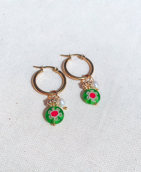 Light Green Millefiori Glass Hoop Earrings, Gold Plated Stainless Steel