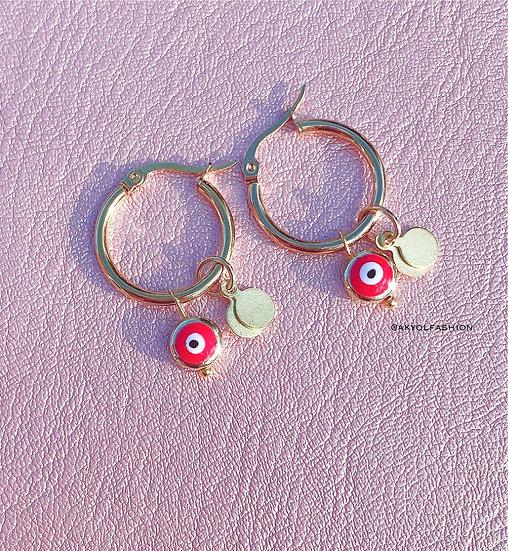 Red Lucky Evil Eye Gold Hoop Earrings, Stainless Steel