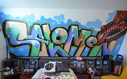 Teenager Bedroom with graffiti