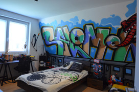 Teenager room with Graffiti