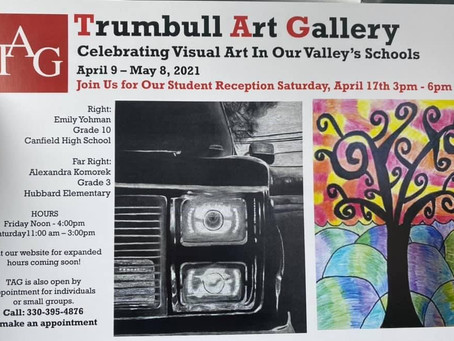 Trumbull Art Gallery HES display and postcard