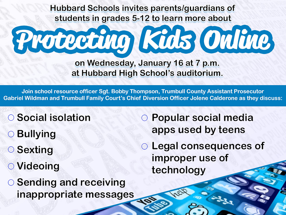 Hubbard Schools to host cyber awareness assemblies for students and parents.