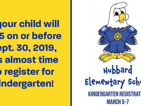 Kindergarten registration for 2019-2020 school year scheduled for March 5-7