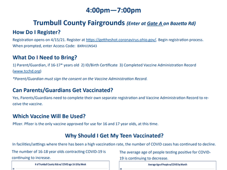 Vaccination clinic scheduled for 16-18 year old students on April 22, 2021