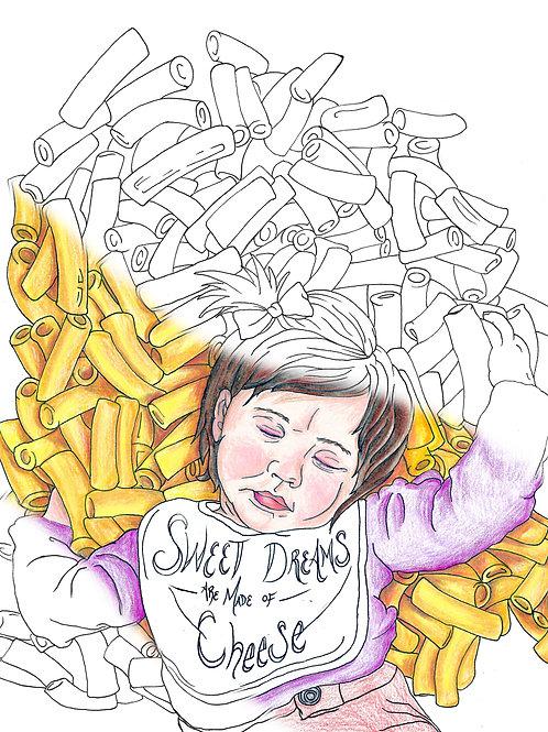 Cheesy Dreams Coloring Page