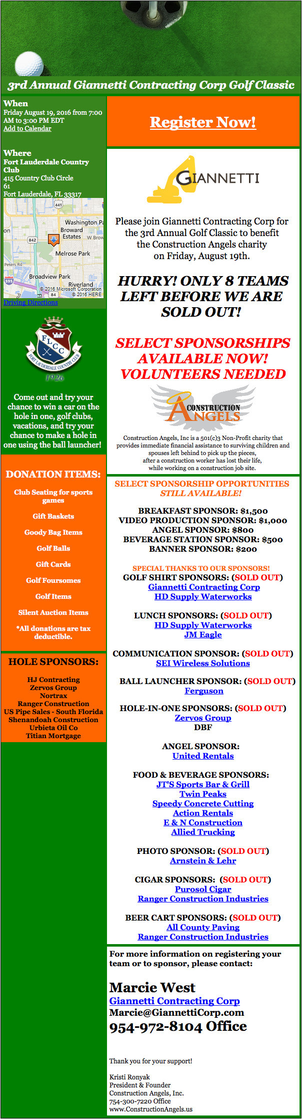 Giannetti Contracting Corp - Golf Tournament - August 19 2016