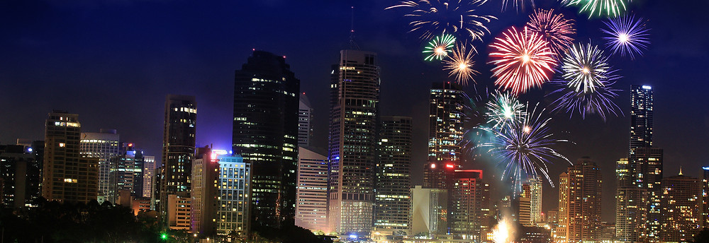 Fireworks over city skyline