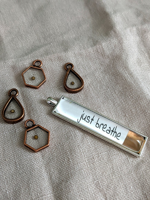 Just Breathe Dipped Bar Necklace with Mustard Seed Charm