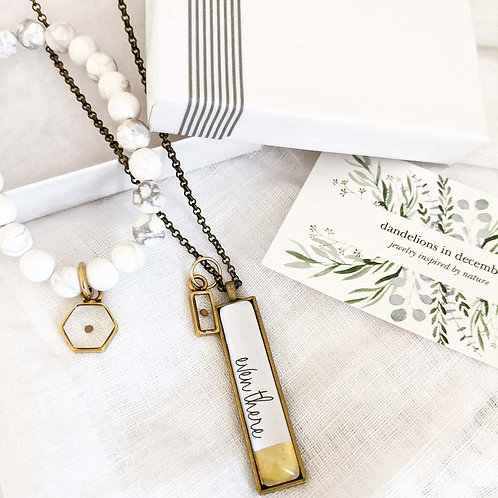 Even There Dipped Bar Necklace with Mustard Seed Charm