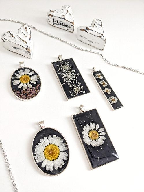 Vintage Silver and Black Pressed Flower Necklace