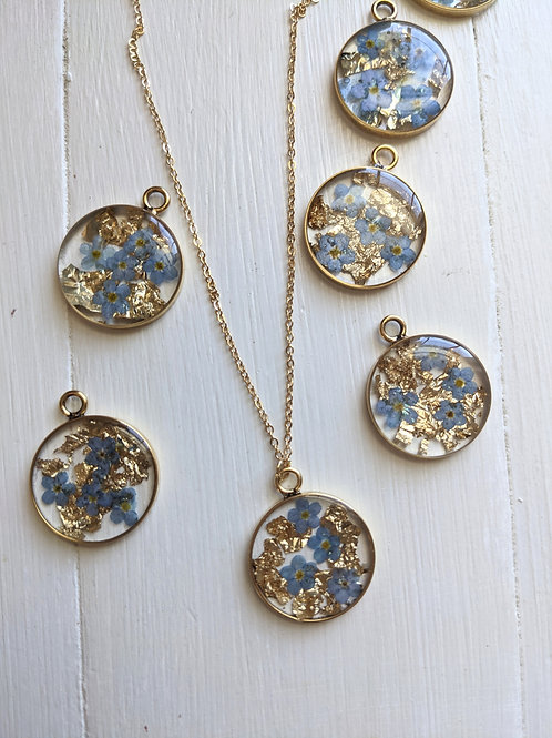 Forget-Me-Not & Gold Necklace