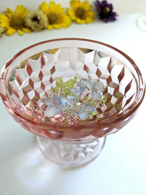 Vintage Depression Glass Floral Resin Jewelry Dish - Pink