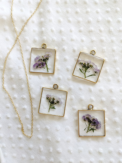 Purple Alyssum Square Pendant & Chain