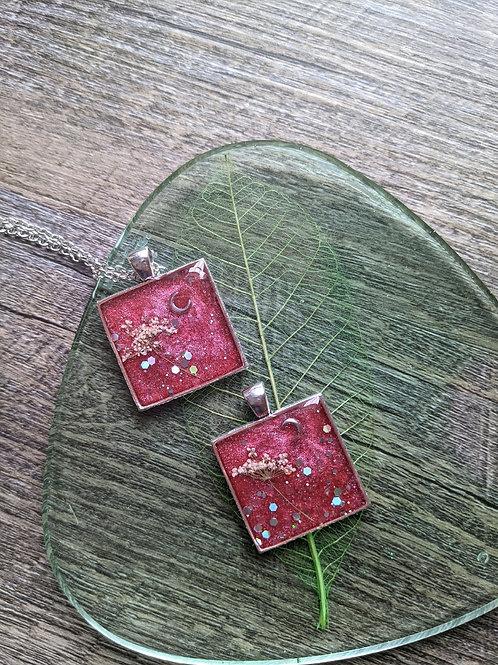 Cranberry Moon Square Necklace