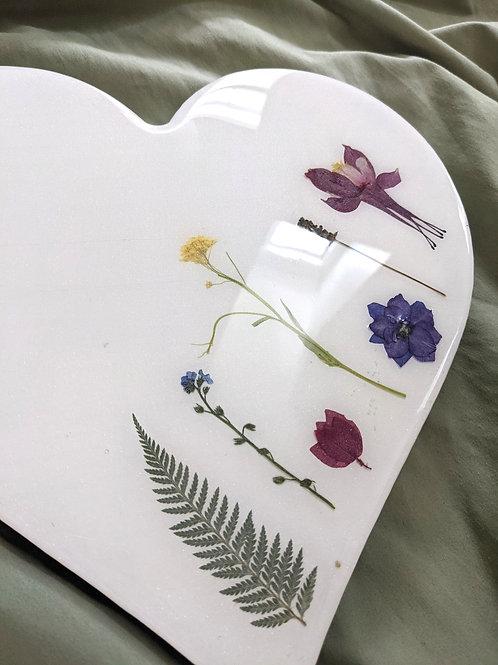 """Heart """"Garden of Faith"""" Resin and Pressed Flower Art"""