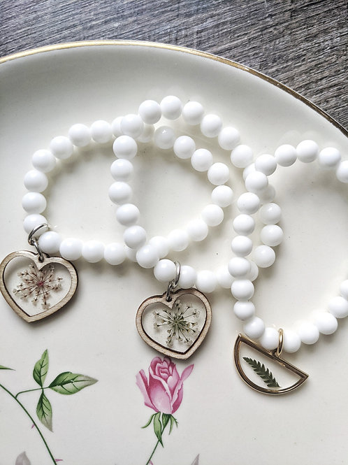 Pressed Flower White Jade Gemstone Bead Bracelet