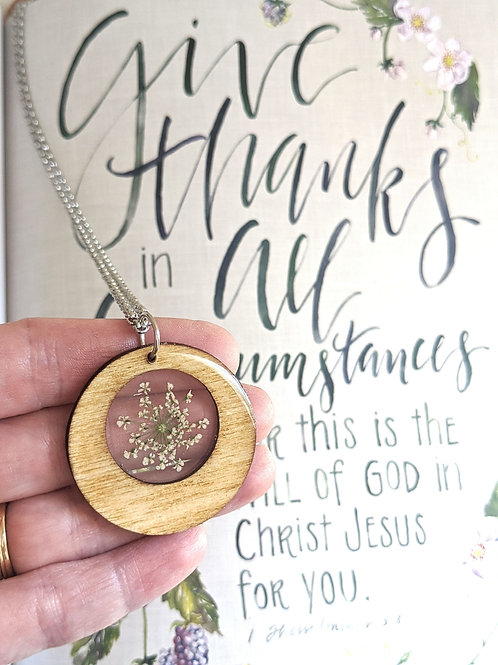 Pressed Queen Anne's Lace Round Wooden Framed Necklace