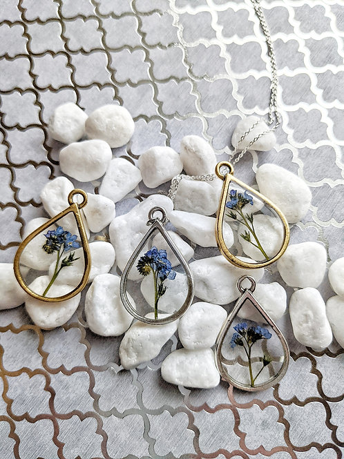 Pressed Forget-Me-Not Teardrop Necklace