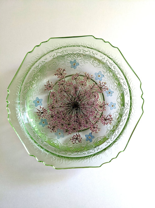 Vintage Depression Glass Floral Resin Jewelry Dish