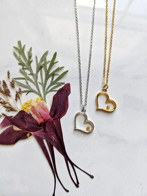 Mustard Seed Heart Necklace
