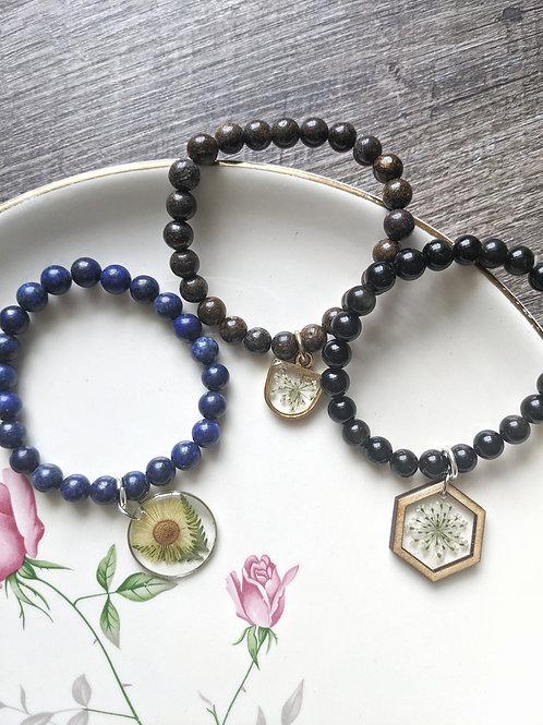 Pressed Flower Gemstone Bead Bracelets