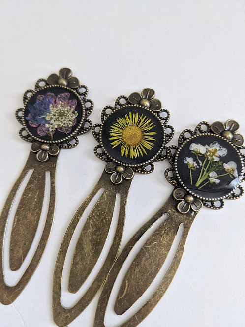 Pressed Flower Bronze Bookmarks