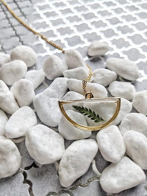 Pressed Fern Half-Moon Gold Necklace