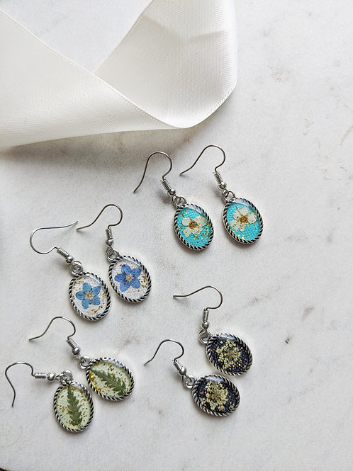 Pressed Flower Drop Earrings - Silver